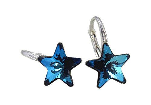 Crystals & Stones *STERN* 6 Farben - Schön Ohrringe Mädchen Ohrhänger mit Kristallen von Swarovski Elements - Wunderbare Ohrringe mit Schmuckbox (Bermuda Blue)