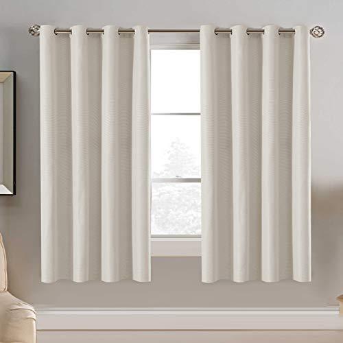 H.Versailtex Ultra Sleep Energy Saving Rich Linen Grommet Window Curtains for Spring Season, Room Darkening Curtain Panel for Bedroom, 52 by 63 Inch- Ivory Single Panel
