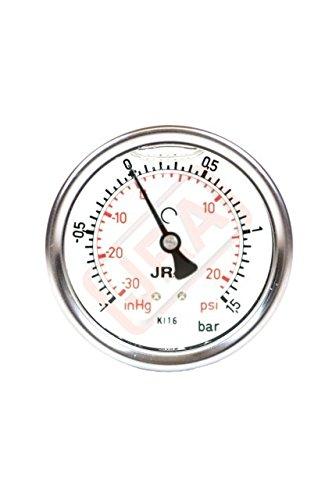 "JRA-Longlife-Glyzerin-Manometer NG63, Anschluß hinten, G 1/4"", Skala -1/ +1,5 bar/psi"