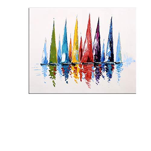 GYXYZS Velero Pintado A Mano Pintura Al Óleo sobre Lienzo Moderno Abstracto Colorido Pared Decorativo Lienzo Arte Cuadros para Sala De Estar Decoración del Hogar Regalo