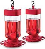Hummingbird Feeder 32 oz [Set of 2] Plastic Hummingbird Feeders for Outdoors - Circular Perch With 8 Feeding Ports - Wide Mouth for Easy Filling/2 Part Base for Easy Cleaning - USA Made
