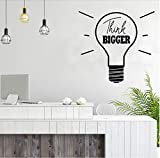 Think Bigger Decal, Motivation Wall Decor, Light Bulb Vinyl Sticker & Wall Decals Oficina de Negocios Decoración de la habitación 44x42cm