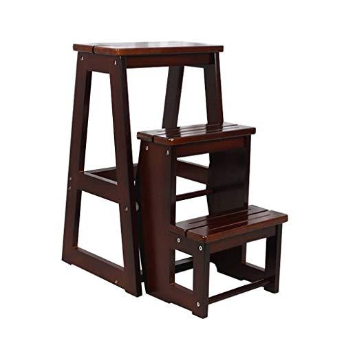 ZHJBD Furniture stool / hout Folding 3 treden ladder klein voor volwassenen staan planken bed stappen voor stapelbedden zwart