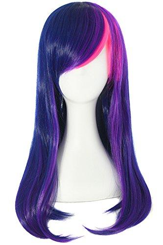 MapofBeauty 24 Inch/60cm Side Pony Micro Volume Waves Lang Krullend Anime Cosplay Pruiken (Licht Inkt Blauw/Vivid Violet/Fluorescerend Roze)