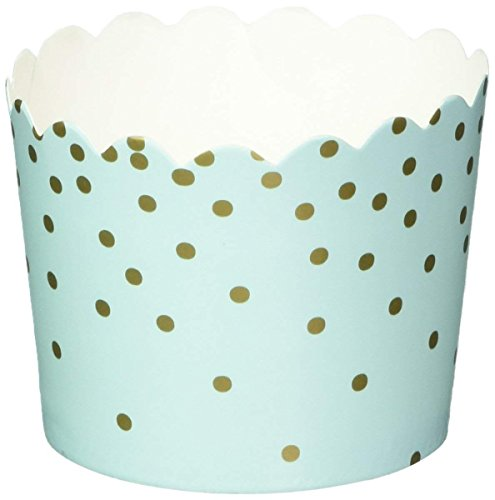 Simply Baked Small Baking Cup Mint Gold Dot, Pack of 25