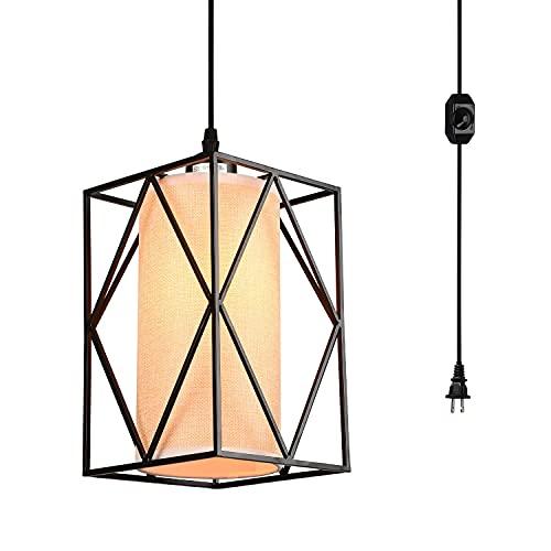 Enchufe las luces del swag de la luz colgante con el cable colgante y el interruptor de encendido / apagado del interruptor de la granja Lámparas colgantes del techo con la pantalla de lino para el co