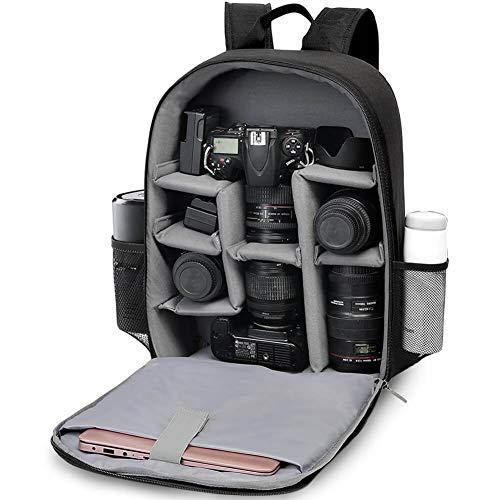 CADeN Kamerarucksack Camera Backpack Wasserabweisend Kameratasche Fototasche Kompatibel mit Sony Canon Nikon und 1 DSLR/SLR 7 Objektiv Stativ Zubehör (Schwarz)