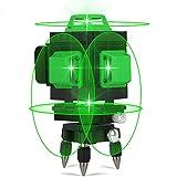 Nivel láser, Careslong 16 tiras con líneas autonivelantes 3 * 360 líneas cruzadas horizontales y verticales Línea de rayo láser verde IP54 nivelación impermeable y alineación menos de 5nw (16 lines)