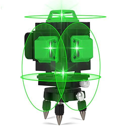 Livella Laser Autolivellante 30M, Careslong 4x360° Linea Laser Verde a Croce, Modalità Impulso Livelli laser Linee, Orizzontale e Verticale Autolivellante 4D 16 Linee, IP54 Impermeabile Con 2 Batterie