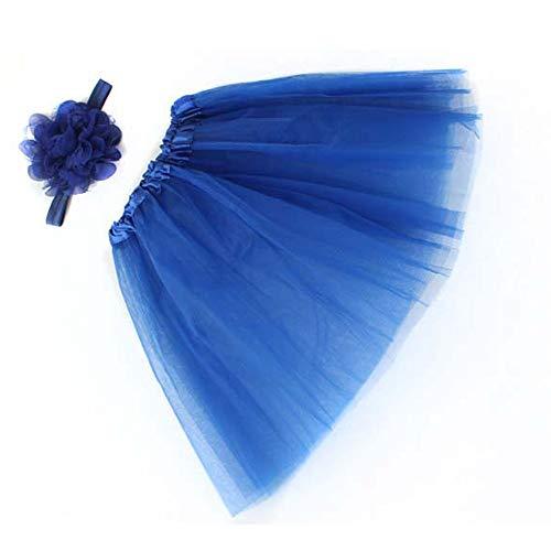 WOZOW Mädchen Tüllrock Einfarbig Mesh Blumen Stirnband Ballettrock Weihnachten Fasching Röckchen Tanzkleid Minirock Prinzessin Crinoline Petticoat