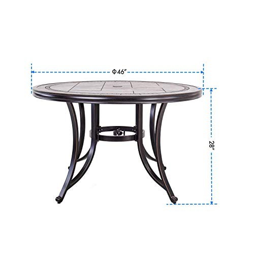 dali Single Sale Outdoor Dining Table Contemporary Round a Tile-Top Design with Heavy-Duty Frames 46''