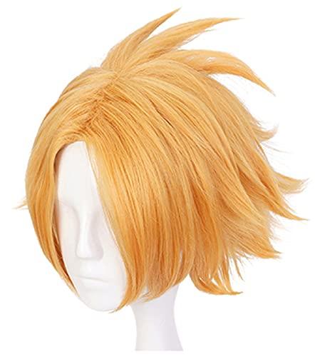 C-ZOFEK BNHA Anime Kaminari Denki Cosplay Wig Golden Middle Parting (golden)