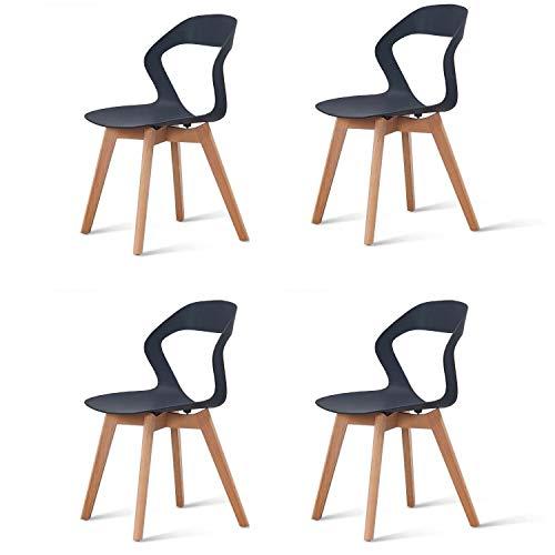 KunstDesign - Set di 4 sedie da pranzo con schienale cavo, in plastica, adatto per cucina, sala da pranzo, soggiorno, giardino, ufficio, computer, caffè Nero