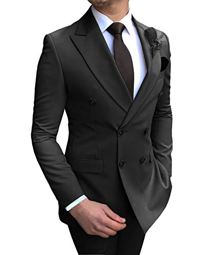 Aesido Men's Suits 2 Pieces Double Breasted Regular Fit Notch Lapel Solid Prom Tuxedos Wedding (Blazer+Pants)(Black,50US)