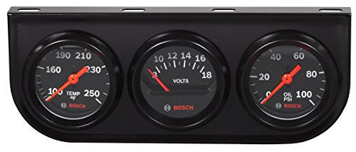 Actron SP0F000054 Bosch Style Line 2  Triple Gauge Kit (Black Dial Face, Black Bezel)