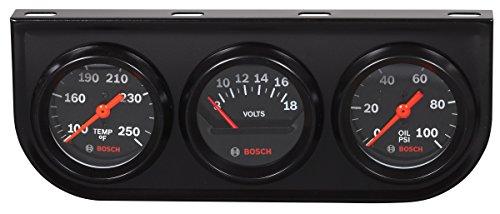 Bosch SP0F000054 Style Line 2' Triple Gauge Kit (Black Dial Face, Black Bezel)