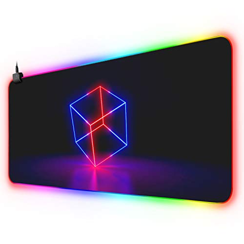 XYK XXL Large Extended RGB Gaming Mouse Pad with 12 Lighting Modes, Non-Slip Rubber Base and Durable Stitched Edges LED Computer Mouse Mat for Working, Gaming, Office, 31 5x11.8 in