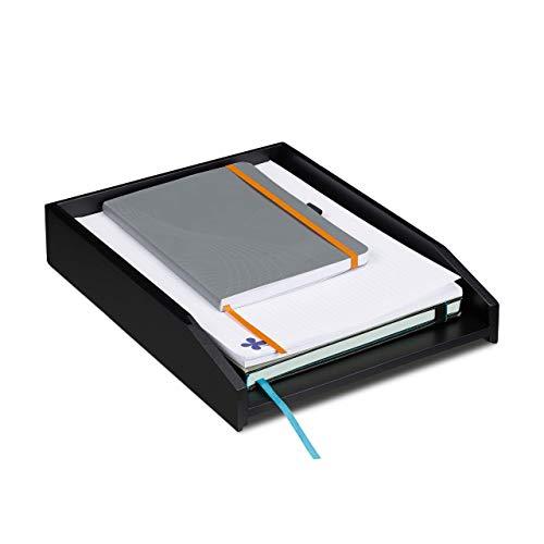 Relaxdays Briefablage stapelbar, DIN A4 Papier, Büro, Schreibtisch, Dokumentenablage Bambus, HBT 6 x 25 x 33 cm, schwarz