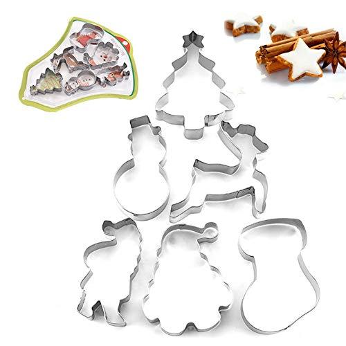 6PCS Stampi per biscotti di Natale Decorazioni natalizie per biscotti Set di stampini per biscotti in acciaio inossidabile Serie di Natale Stampo per fondente Stampo fai da te