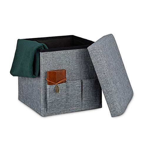 Relaxdays Tabouret de rangement pliant en lin 3 poches pouf pliable avec couvercle coffre repose-pieds 38 x 38 x 38 cm, gris