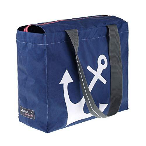 Strandtasche CANVASCO Beach Pro/Tasche blau/Gurt grau-weiß/Motiv Anker weiß