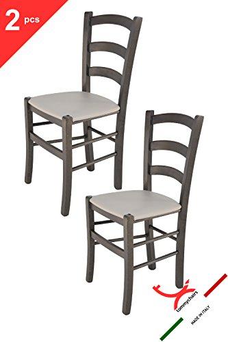 Tommychairs - Set 2 sedie classiche Venice per cucina e sala da pranzo, struttura in legno di faggio verniciata anilina grigio scuro e seduta imbottita e rivestita in pelle artificiale grigio chiaro
