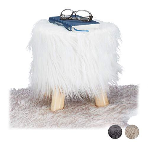 Relaxdays Fell Hocker, flauschig, 4 Holzbeine, gepolsterter Fußhocker, Kunstfell, rund, Dekohocker HxD: 31x31 cm, weiß, Größe