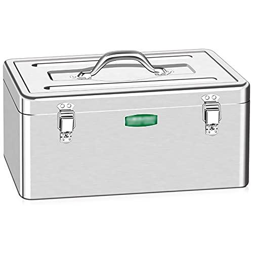 Cassetta degli attrezzi completa Cassetta portautensili in metallo Armadio in acciaio inox cassiere in acciaio inox con vassoio rimovibile e maniglie portanti organizzatori portatili e archiviazione A