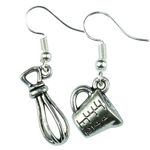 The Funky Barcode BAKERS KITCHEN JUG & WHISK DANGLE EARRINGS Gift Box Available