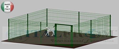 ITALFROM .clôture-Box modulaire pour Chiens en Fer galvanisé et Verni Vert avec poteaux à Enfiler – 400 x 400 x 102 H cm