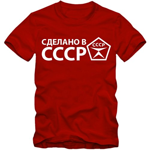 Herren T-Shirt Made in сделано в CCCP USSR Russia Russland Shirt Putin S-3XL (XXL, Rot)