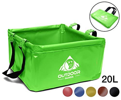 Outdoor Panda: Outdoor Faltschüssel 20 Liter | Faltbare Camping Waschschüssel aus langlebigem Planen Gewebe | Platzsparende und leichte Alternative zur Plastik Spülschüssel und Spülwanne (Gruen 20L)