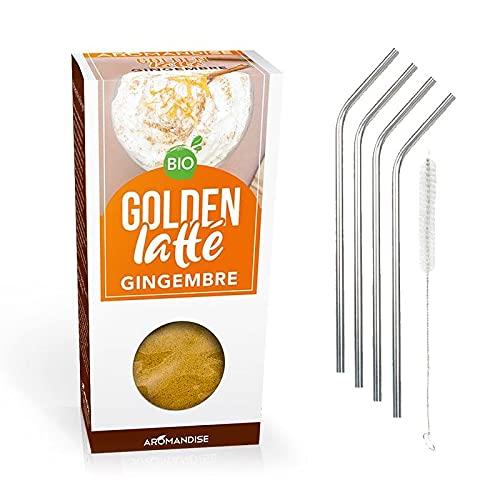 Latte cúrcuma y jengibre 60 g + 4 pajitas de acero inoxidable