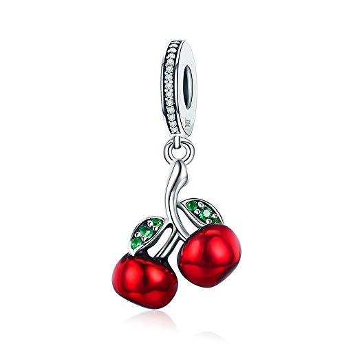 Abalorio de plata de ley 925 con diseño de cerezas rojas, compatible con pulseras Pandora y collares para mujeres y niñas