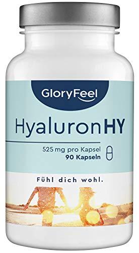 Hyaluronsäure Kapseln 525mg Hochdosiert - 90 vegane Kapseln mit 500-700 kDa im 3 Monatsvorrat - 525mg reine Hyaluronsäure pro Kapsel - Laborgeprüfte Herstellung in Deutschland
