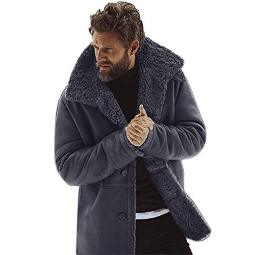 Mens Fleece Winter Jacket Thicken Cotton Detached Casual Coat Turn-Down Collar Medium Length Warm Sherpa Lined Outerwear (Gray, L)