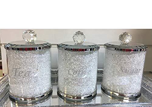 Barattoli da cucina in cristallo di diamante schiacciato, gamma di barattoli in argento, Bianco-argento., 15x10