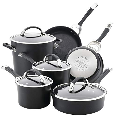 Circulon Symmetry Dishwasher Safe Hard Anodized Nonstick Cookware Pots and Pans Set, 10-Piece, Black