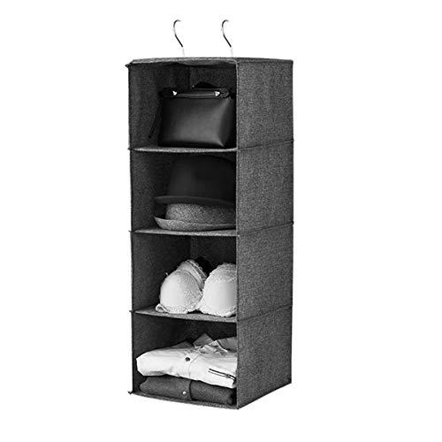 easybuy-eu organizer da appendere per armadio 4 tasche con 2 ganci per vestiti, scarpe, calze, asciugamani e biancheria intima, grigio