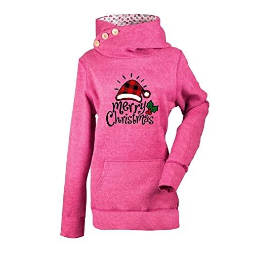 ZFQQZXC Suéter de Manga Larga con Capucha y Estampado Multicolor navideño para Mujer Otoño / Invierno