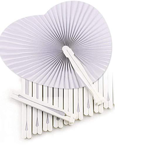 Okaytec 36 Fächer-Hochzeit Handfächer Papierfächer Herzform Weiß Papier Fächer faltbar für Gastgeschenk Hochzeit Bevorzugung Party