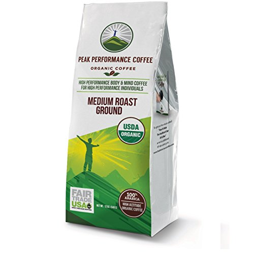 Peak Performance High Altitude Organic Coffee. No Pesticides, Fair Trade, Non GMO, and Beans Full Of Antioxidants! Medium Roast Low Acid Smooth Tasting USDA Certified Organic Ground Coffee 12oz Bag