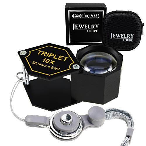10x Magnification Jewelery Loupe, 20.5mm Triplet Lens Achromatic Optical Glass Metal (Aluminum) Body Black Frame Hexagonal Design Kit Set Jewelry Pocket Magnifying Tool