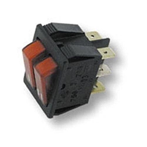 Interrupteur double lumineux rouge avec 6 contacts 250 V