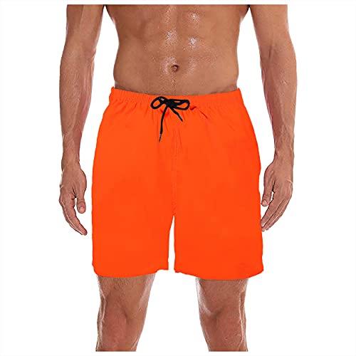 MEITING Shorts De Playa Fluorescentes con Estampado Digital Casual Secado RáPido para Hombre,Pantalones Cortos Deportivos Hombre,Hombres Verano Ocio Deportes Fitness,Naranja,3XL