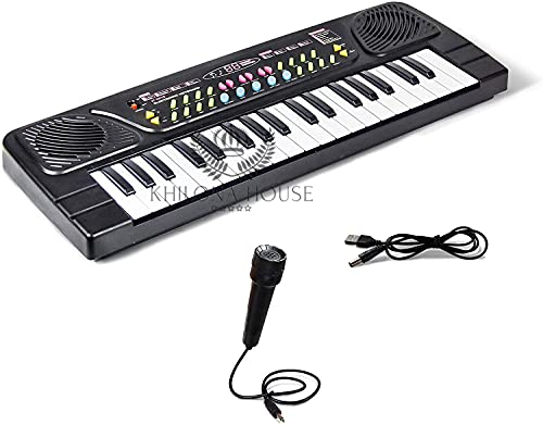 Khilona House Kids Piano Keyboard, Piano for Kids with Microphone Portable Electronic Keyboards for Beginners 37 Keys Musical Toys Pianos for Girls Boys Ages 3-8 (Big Fun 37 Key Keyboard Piano)