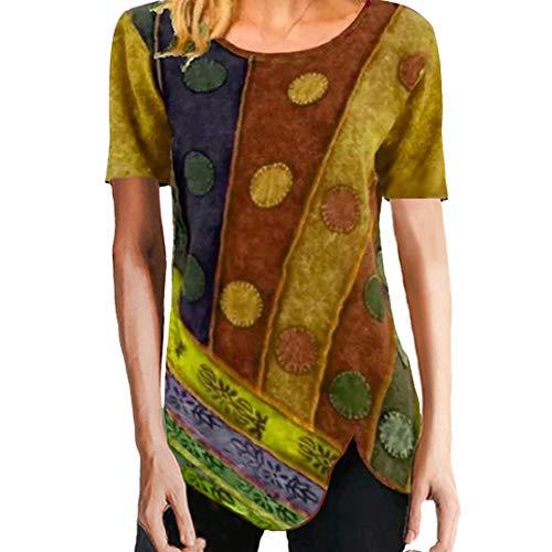 Camiseta de Mujer Tops de Manga Corta Camiseta de Cuello Redondo con Estampado Lrregular Dobladillo con Estampado Interesante básico con Dobladillo de Esquina Abierto de Punto de algodón de otoño