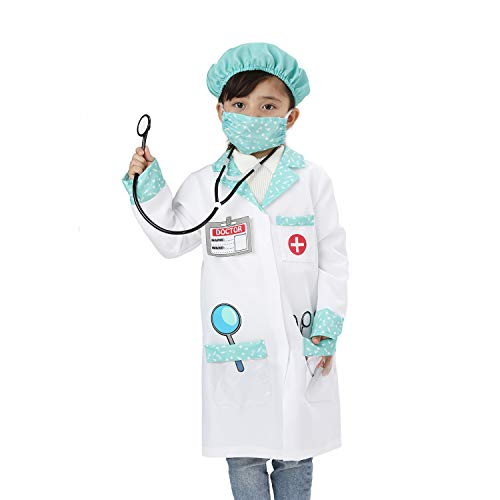 Wizland Doctor Costume for Kids,Doctor Dress Up for Kids,Child Doctor Costume,Child Role Play Costumes. XS 3-5yrs