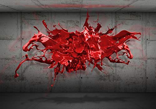 decomonkey Fototapete Steinwand 3d Effekt 350x256 cm XL Tapete Fototapeten Vlies Tapeten Vliestapete Wandtapete moderne Wandbild Wand Schlafzimmer Wohnzimmer Abstrakt Stein Modern schwarz rot