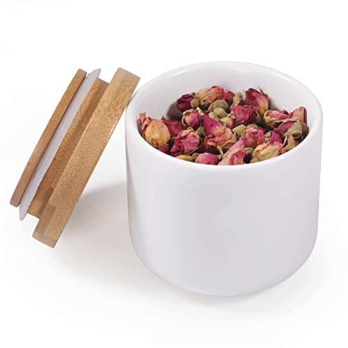 77L Keramik Vorratsdose, 180ML (6.08 FL OZ) Luftdichte Lebensmittelaufbewahrung Kanister mit Aufbewahrungstasche und Holzdeckel, Tragbare Keramik Vorratsdose für Gewürz, Kaffee und mehr (Weiß)